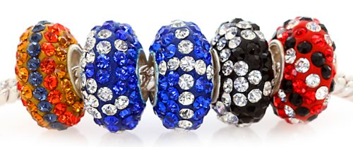 Royal Diamond Jewelry White Swarovski Crystal Set of 5 Bead Fits Pandora Pugster (Variation 4)