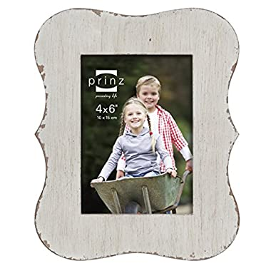 Prinz Claire Distressed Wood Frame, 4 by 6-Inch, White