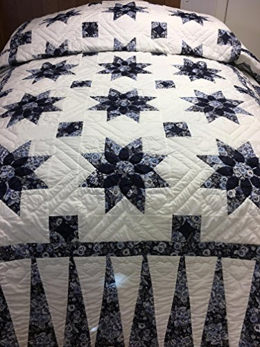 (Handmade Hand-quilted Amish Quilt King/Queen - Dahlia (Navy Blue Pansy, Queen))