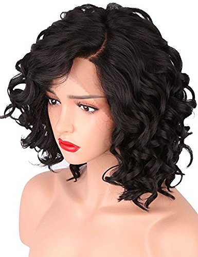 Short Synthetic Wig (Short Body Wave Synthetic Lace Front Wigs for Women L Shapped with Natural Hairline 1B Color)