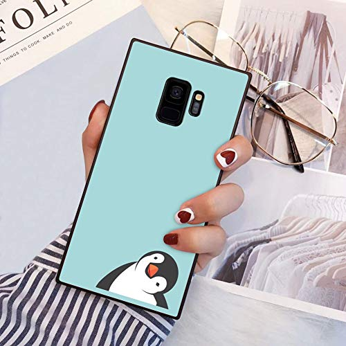 Penguin Samsung Galaxy S9 case Protective Square Phone Shockproof Black TPU Silicone case for Samsung Galaxy S9