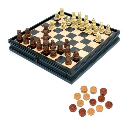 (WE Games Medieval Chess & Checkers Set - Polystone Pieces, Black Stained Wooden Board with Storage Drawer - 15 in.)