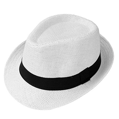 Classic Straw Cap (Faleto Unisex Summer Panama Straw Fedora Hat Short Brim Beach Sun Cap Classic (#01 White))