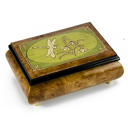 Tranquil Olive Green and Wood Tone Dragonfly Music Box - Over 400 Song Choices - Somewhere Over The -