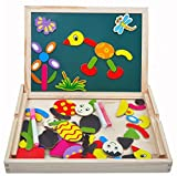 Wooden Toys Learning & Education Magnetic Puzzle Wooden Multifunction Writing Drawing Board Jigsaw Blackboard Drawingboard Wordpad Toy for Kids Children Toddlers