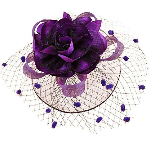 Song Qing Ladies Sinamay 1920s Fascinator Flower Headwear Mesh Prom Hair Clip ()