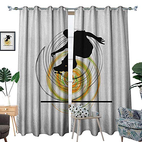 Warm Family Youth Patterned Drape for Glass Door Black Silhouette of a Skater Man on Hand Drawn Style Spiral Hobby Activity Waterproof Window Curtain W72 x L108 Orange Green Black