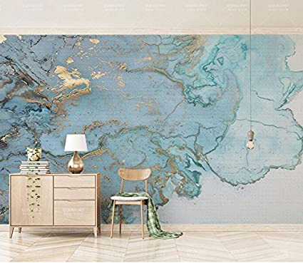 140X70Cm, Luxurious Gold Print Blue Textured Marble ...