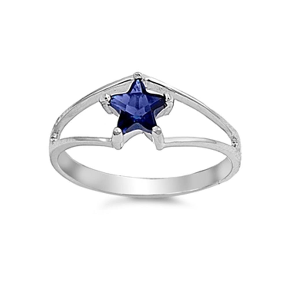 Sterling Silver Simulated Blue Sapphire Star Wonder Woman Style Ring, 3mm Choose Your Color