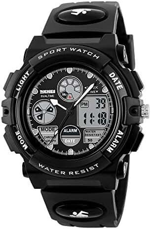 Children Students LED Pointer Display Waterproof Sports Wrist Watch Black