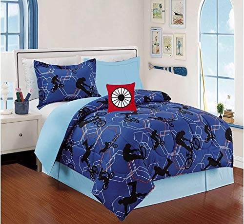 (JORGE'S HOME FASHION Limited Edition BMX Xtreme Teens Boys Chic Collection Comforter Set 4 PCS Twin Size)