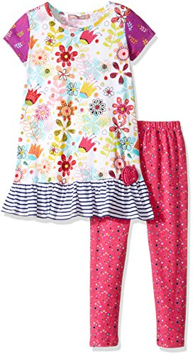 Jelly the Pug Girls' Little Tulip Floral Shelby Knit Dress, Multi 5