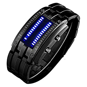 Binary Watch for Men Lava Matrix Blue LED Digital Wristwatch Classic Creative Fashion Black Bracelet Wrist Watches