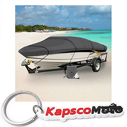 GRAY HEAVY DUTY WATERPROOF MOORING BOAT COVER FITS LENGTH 16' 17' 18.5' SUPERIOR TRAILERABLE BOAT COVERS 600 DENIER V-HULL FISHING SKI BOAT PRO BASS INBOARD OUTBOARD BOAT COVERS + KapscoMoto Keychain ()