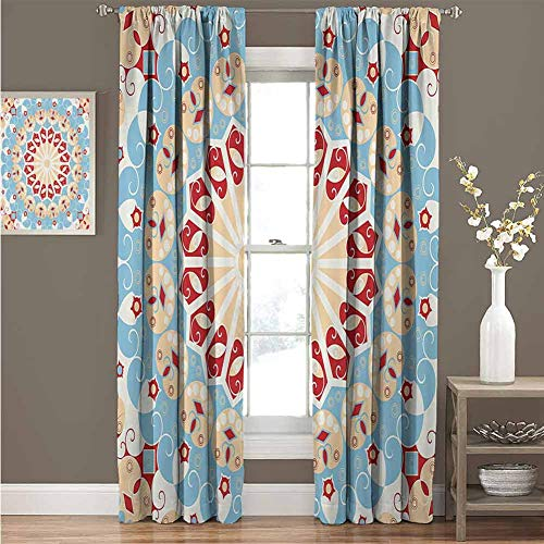 Classic Decor Collection For bedroom blackout curtains Luxurious Royal Classics Stylish Summertime Exotic Arabic Style Art Print Blackout curtains for the living room W52 x L72 Inch Light Blue Red Iv