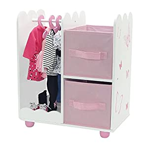 18 Inch Doll Furniture | Beautiful Pink and White Open Wardrobe Closet with Butterfly Detail Comes with 5 Doll Clothes Hangers | Fits American Girl Dolls