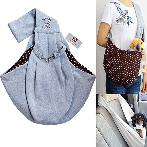 iPet-Hands-free-Reversible-Small-Dog-Cat-Sling-Carrier-Bag-Travel-Tote-Soft-Comfortable-Puppy-Kitty-Rabbit-Double-sided-Pouch-Shoulder-Carry-Tote-Handbag-Grey