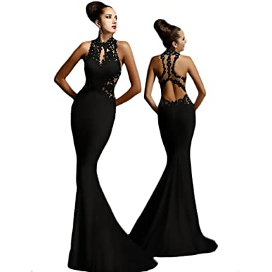 Evening Prom Dresses Long 2018 Sexy Open Back Party Ball Gown Spandex Polyester Fiber Dresses(