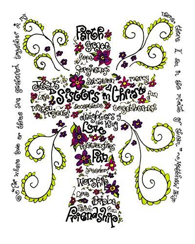 Sisters In Christ Cross 8x10 - Wordart Christian Gift