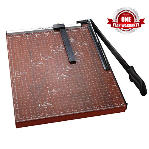 Paper Trimmer, A2-B7 Paper Cutter Guillotine Blade Gridded 18 inch Cut Length Photo Guillotine Craft Machine(A3 Red) ()