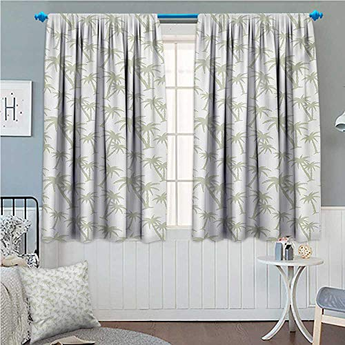 (zojihouse Tropical Blackout Window Curtain Tropical Coconut Palm Trees Pattern Print Exotic Hawaiian Wild Lands Holiday Theme Grey White)