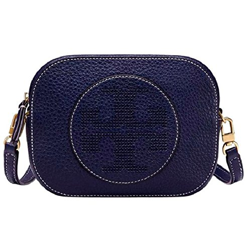 Tory Burch Logo Perforated Leather Crossbody (Royal - Tory Size 5 Burch