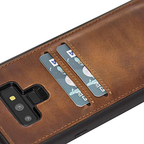 Venito Cosa Samsung Galaxy Note9 Leather Case, Snap-On Back Cover with Credit Card Slots for Galaxy Note9 | Slim and Lightweight | Handcrafted Premium Full Grain Leather (Antique Brown)