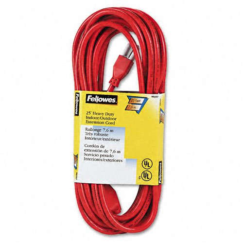 Fellowes : Indoor/Outdoor Heavy-Duty 3-Prong Plug Extension Cord, 1 Outlet, 25-ft., Orange -:- Sold as 2 Packs of - 1 - / - Total of 2 (Fellowes Orange Indoor Extension Cord)