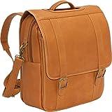 LeDonne LD-115 Vaqueta Flap Over Backpack/Laptop Briefcase, Tan