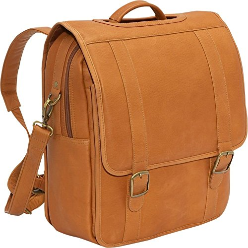 LeDonne LD-115 Vaqueta Flap Over Backpack/Laptop Briefcase, Tan by LeDonne