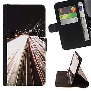 Momo Phone Case / Flip Funda de Cuero Case Cover - Carretera Luces Noche El exceso de velocidad del coche Por - HTC One Mini 2 M8 MINI