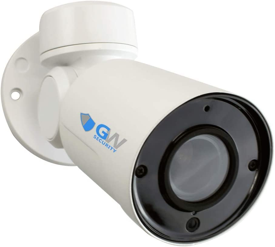 GW Security 5MP 2592 X 1920P Pan Tilt Zoom High Speed H.265 Onvif PoE Bullet PTZ Camera 4X Optical Zoom Weatherproof Outdoor Indoor, 130 feet IR Night Vision