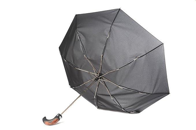 Paraguas (diámetro 105cm), mango curvo y ancho, muy estable, estructura de fibra de vidrio resistente a tormentas, apertura/cierre al presionar un botón, ...