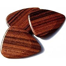 "Unique & Custom [Medium Gauge - Traditional Style Semi Tip] Hard Luxury Guitar Pick Made of Genuine Santos Rosewood ""Brown Colored"" {Single Pick}"