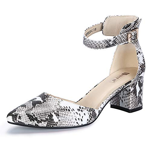 IDIFU Women's IN2 Pedazo-C Mid Chunky Heels Ankle Strap D'Orsay Pumps (Snake White, 8 B(M) ()