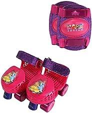 PlayWheels Disney Princess Roller Skates with Knee Pads, Junior Size 6-12