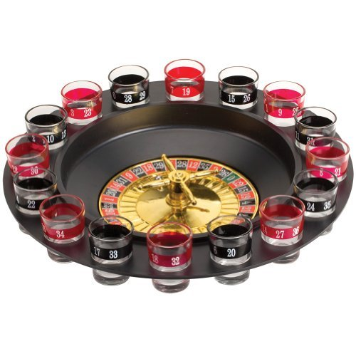 Drinking Roulette Wheel 16 Shot Glasses Party Game Casino Gambling (Casino Night Games)