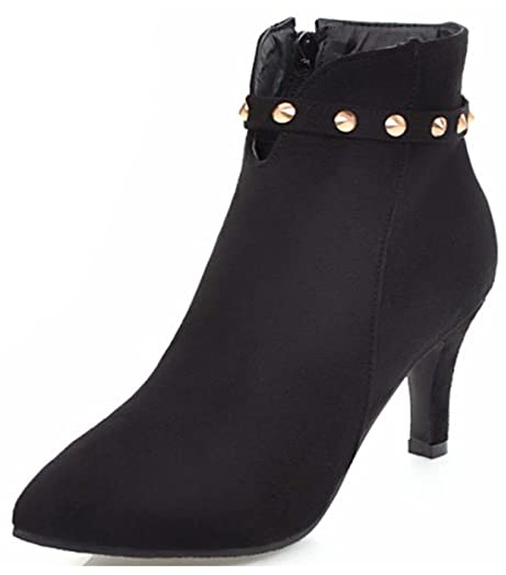 Women's Studded Dressy Inside Zip Up Pointed Toe Booties Stiletto Kitten Heel Ankle Boots With Studs