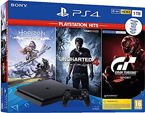 Sony PS4 1TB + Horizon Zero Dawn + Uncharted 4 + GT Sportt HITS negro 1000 GB Wi-Fi: Amazon.es: Videojuegos