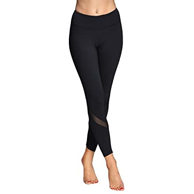 NonEcho Women Yoga Leggings Stretch Mesh Running Pants High Waist Capri Workout Tights