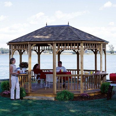 Handy Home Products Monterey Tight Knot Cedar Oval Gazebo, 12 by 16-Feet