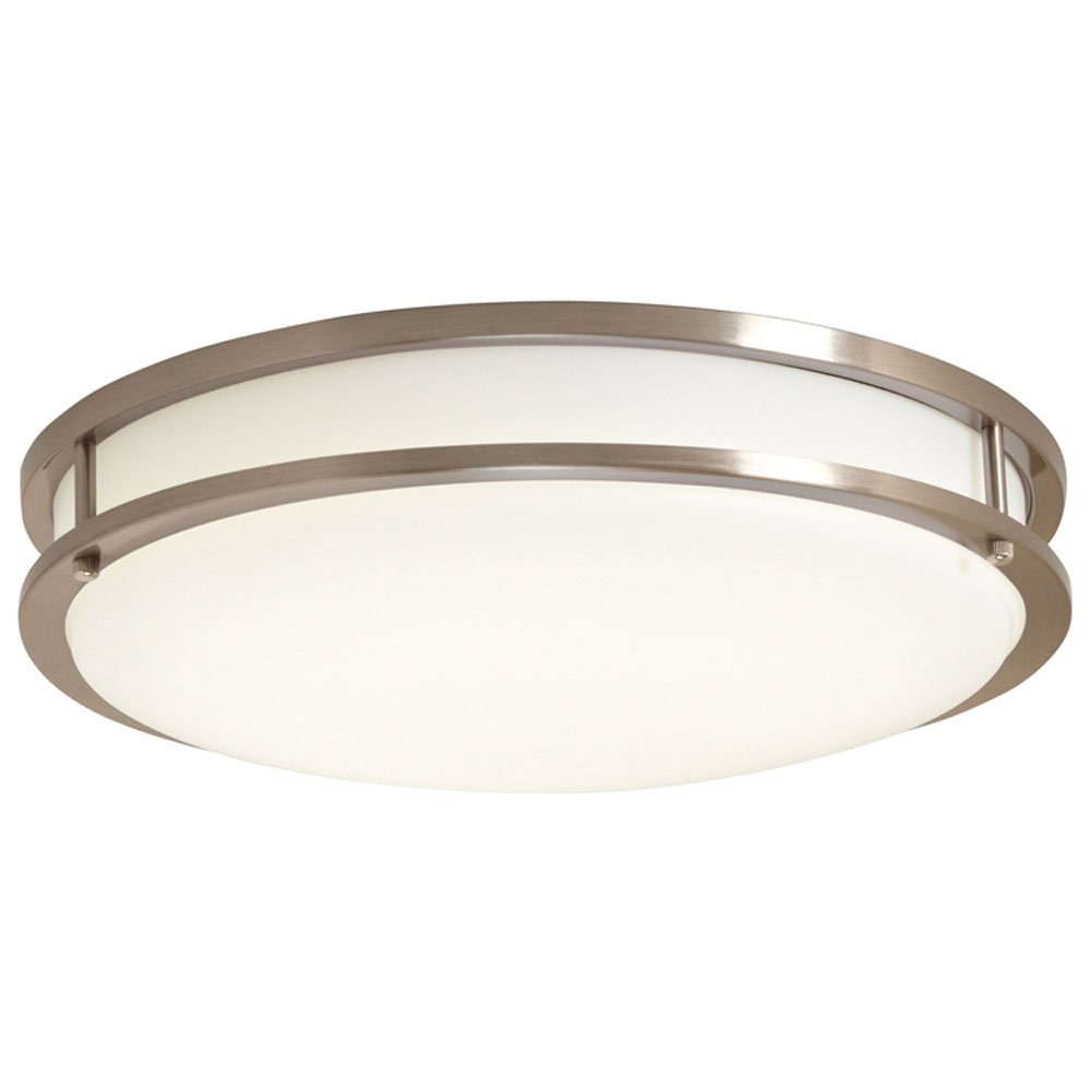 EV1410LED-BN Ceiling Light, LED Flushmount, Brushed Nickel with White Lens