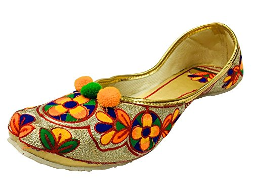 Step n Style Multi coloured Punjabi Jutti Ethnic Shoes Beaded Shoes Flat Mojari uDWAllVMXG