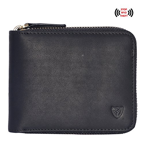 Customized RFID Men's Leather Zipper wallet Personalized Engraved Monogrammed Zip Around Wallet Bifold Multi Card Holder Purse (Black)