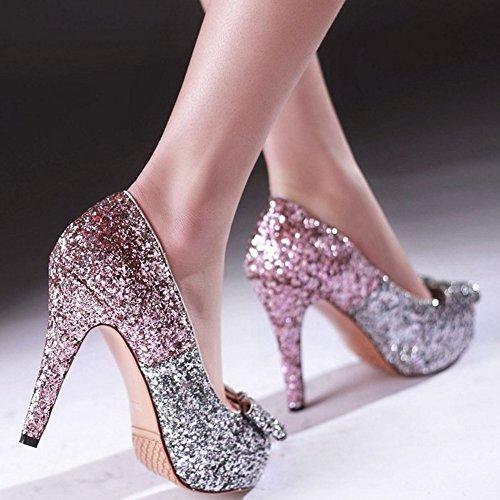 On Shoes Fashion Coolcept spillo Slip con Women Tacchi a Bassi rosa fiocco Tacchi A1qq6Rw5n