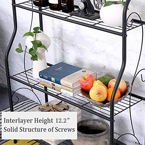 MORINN 3 Tier Metal Plant Stand Scrollwork Design Indoor and Outdoor Flower Rack, Home Storage Organizer Shelf, 27.9''x9.6''x32.6'' by MORINN (Image #4)