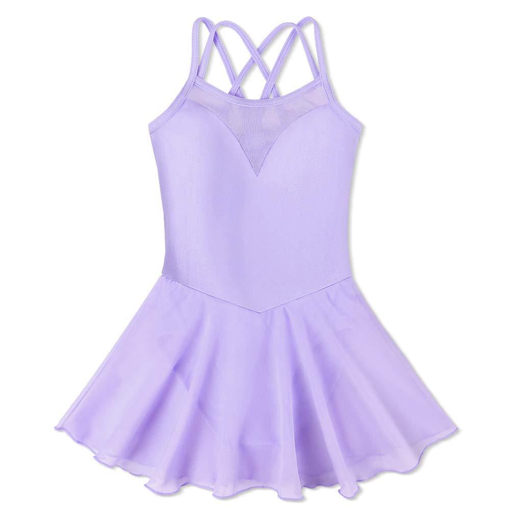 BAOHULU Girl's Ballet Dance Camisole Skirted Leotards Dancewear B186_Purple_XXL by BAOHULU