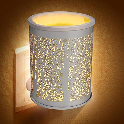 Foromans Plug-in Fragrance Oil Wax Melt Warmers Outlet Metal White Forest Tree Scented Warmer Wax Tarts & Cubes 20W