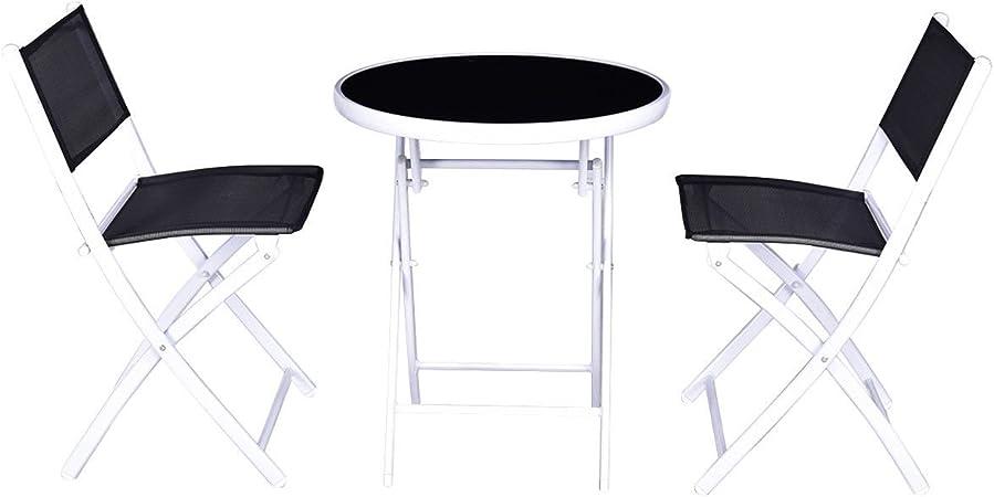 Amazon.com: Patio Furniture Set 3 PCS Folding Bistro Table Chairs ...