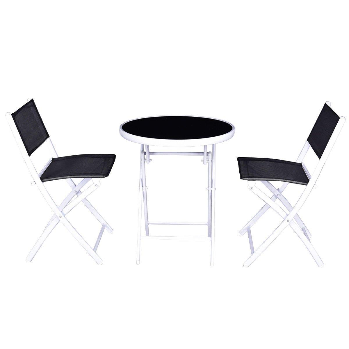 Folding Bistro Table Chairs Set Garden Backyard Patio Furniture Black 3 PCS